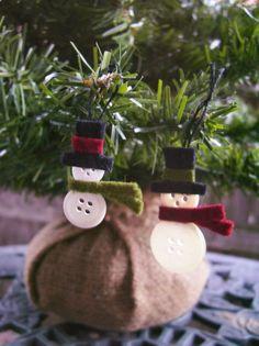 button snowmen ornaments from atbutton.com