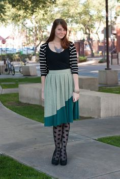 I know this girl! She is awesome. Follow her blog. :) Frecklesstyle.com #polkadottights #fashion #arizona