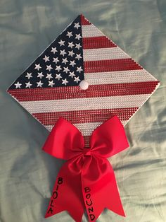 American Flag Graduation Cap I made for my sister! Perfect for anyone who loves sparkles, America, or country music...looked super cute with her boots at graduation!