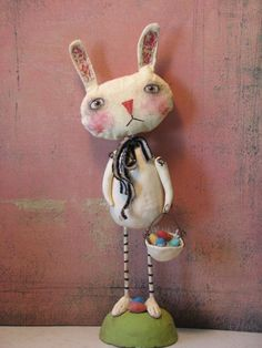 Primitive Bunny Rabbit with Basket of Eggs Clay and by OffTheBeam, $40.00