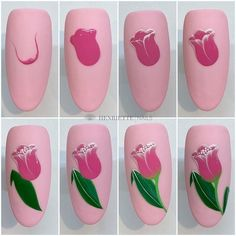 Nail Art Designs Videos, Nail Art Videos, Simple Nail Art Designs, Beautiful Nail Designs, Tulip Nails, Flower Nails, Spring Nail Art, Spring Nails, Summer Nails