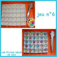 Boite d'œufs, pinces et boules de papier
