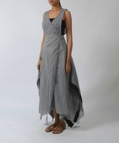 Shop online Chequered overlapping dress Chequered overlapping yoke dress with asymmetrical hemline Indian Gowns, Indian Wear, Sew Your Own Clothes, Recycled Dress, New Kurti, Suit Pattern, Designer Dresses, Designer Kurtis, Sari Fabric