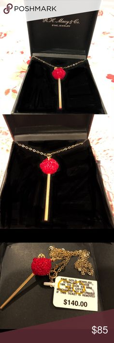 SIS by Simone Smith Crystal Lollipop Necklace A perfect treat! This lollipop pendant from SIS by Simone I Smith dazzles with medium red crystals,  makes a great gift for a July birthday. Set in 18k gold over sterling silver. This necklace is in the original box with the original price tag $140.00 from Macy's  and had never been worn. Love it but would rather have sterling silver So I'm open to trades if you would rather have gold! Happy to bundle and open to offers. Thank you! SIS by simone