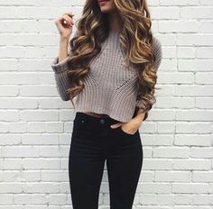 Teen Fashion Blogger — Basic Winter Outfit: cropped sweater and high...