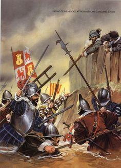 Spanish forces led by Pedro de  Menendez attack the French Fort Caroline in september 1565.