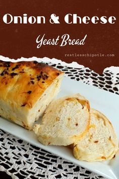 Cheese and Onion bread has caramelized onions and pieces of sharp cheddar cheese in a crusty loaf that will take your grilled cheese sandwiches to new levels of yum! How To Make Bread, Food To Make, Best Homemade Bread Recipe, Onion Bread, Yeast Bread Recipes, Yeast Rolls, Easy Meals, Easy Recipes