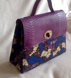 Pretty and sophisticated. Purple handbag with Ankara print. Women's fashion. Women's purses. Contact to order. Delivery available.