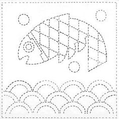 sashiko pattern, koi in waves Sashiko Embroidery, Running Stitch, Shibori, Japanese Art, Kids Rugs, Quilts, Koi, Fabric, Pattern