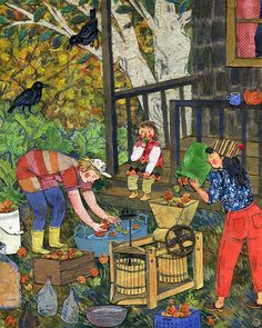 Cider Pressing, created for theTaproot 2015 calendar. Watercolor, collage, colored pencil. Phoebe Wahl 2014