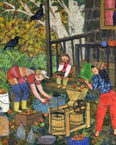 """""""Cider Pressing"""": watercolor, collage, colored pencil. En la concepción de Phoebe Wahl (2014)."""
