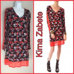 "Kirna Zabete Print Dress NWT Fun and comfortable dress in abstract print and  sheer panel on sleeves and 4"" sheer hem. Kirna Zabete for Target - NWT.                                                                                                                 Length from neck to hem is 35"" (including 4"" sheer).                                                                        Bust is 16"" across. Kirna Zabete Dresses Long Sleeve"