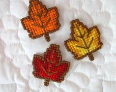 Plastic Canvas: Autumn Leaves Magnets Set (set of 3)