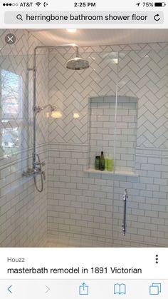 subway with herringbone inset shower- safety rails White Tile Shower, White Subway Tile Bathroom, Subway Tile Showers, Bathroom Niche, Bathroom Renos, Bathroom Renovations, Master Bathroom, Bad Inspiration, Bathroom Inspiration