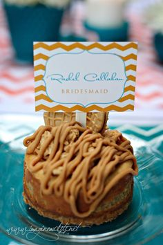 Name card in orange chevron and blue placed in personal cheesecake ::: stationery by CWG Invites and sweets by That's So Sweet