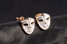 Earrings - Rose Gold Plated, #Mask Shaped