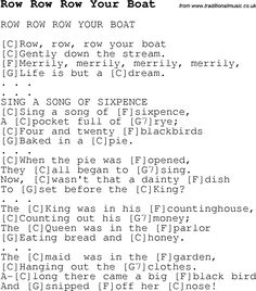 Childrens Songs and Nursery Rhymes, lyrics with chords for guitar, banjo etc for song row-row-row-your-boat