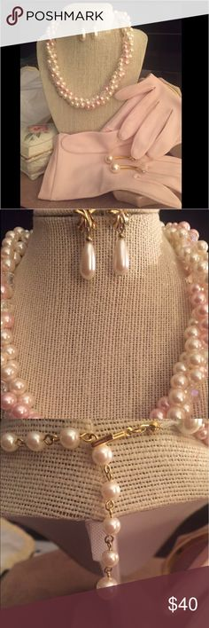 """VNTG Pink Collection This is simply gorgeous. Includes: vintage pink gloves ( no brand listed). Gloves will fit large. Nice stretch very soft. Bow at wrist. Necklace is 14"""" with 4"""" extender  twisted faux pearls and crystals create a beautiful piece of costume jewelry. 2 sets of faux pearl earrings  Both are posts. The ribbon drops are 1 inch the studs are 2 in. This set would be perfect for church/tea or Easter. Dog friendly non smoking home. Happy Poshing!  FREE LIPPY sample INCLUDED…"""