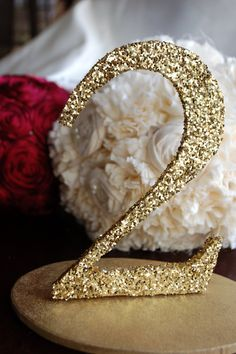 Gold Glitter Wedding Table Numbers Gold or Silver 110 by RuffledBlooms