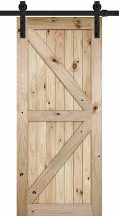 70 Tall K Bar V Grooved Knotty Pine Barn Door Slab With Sliding Door  Hardware Kit