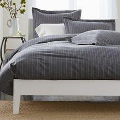 Spencer Gray Flannel PinStripe Duvet Cover  / Blanket