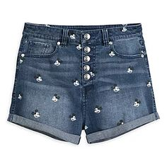 Keep it comfy and classic with our denim shorts featuring an allover print of Mickey Mouse's iconic face. Rolled cuffs, a button fly and high waist make this style staple an on-trend essential. Cute Disney Outfits, Disney World Outfits, Disney Themed Outfits, Disney Shorts, Cute Outfits, Cute Disney Stuff, Disney Clothes, Fun Stuff, Denim Jogger Pants