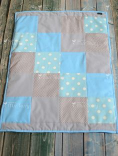 Blue and gray Baby blanket | quilt blanket for boys  This adorable patchwork baby quilt is perfect for a cute little boys or toddler! On the front side I have paired a gray and blue cotton fabric and the back side of this blanket has a very soft gray dot minky fabric and will have the personalization of your choice. The minky makes this blanket very soft and so nice to cuddle with! Baby blanket in a modern style. Interior detail for the nursery or kids bedding room , delicate and full of…