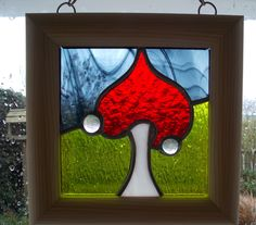 """Stained Glass Panel Magic Mushroom 7"""" x 7"""" Hanging Window Art Fairy Toadstool Framed Ready to Hang by WylloWytch on Etsy"""