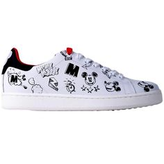 Moa Woman Mickey Mouse Printed Sneakers (£84) ❤ liked on Polyvore featuring shoes, sneakers, printed, womenshoessneakers, black sneakers, leather shoes, white leather shoes, black leather shoes and black shoes
