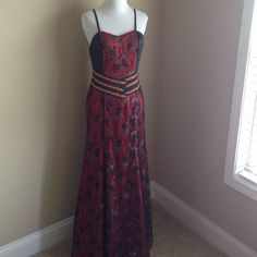 Nwt Everpretty Prom, Formal Dress Red & Black Lace