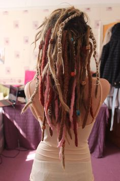 | Dreads coloured, beaded and wrapped |