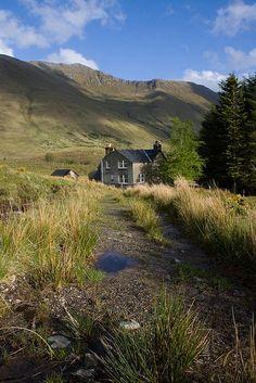 House at Alltbeithe, Glen Quoich, Kinloch Hourn, Scotland.