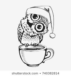 Cute owl line sketch hand drawn cartoon character. Vector illustration for t-shirt print design, coloring book, greeting and invitation card Coffee Cup Tattoo, Owl Quilts, White Coffee Cups, Line Sketch, Felt Owls, Owl Cartoon, Art Deco Posters, Shirt Print Design, Owl Art