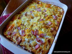 Baked eggs with ham and cheese! My mom has been making a dish like this scrumptious brunch casserole for years, and it's a hit every time. It's even perfect for dinner, and the leftovers heat up nicely for lunch. Here is what you...