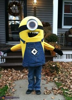 Homemade Minion Costume Idea.....don't think this would really work for a 3 year old but great idea.