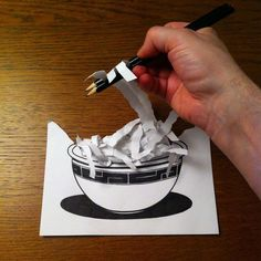 paper folding art and drawings by HuskMitNavn - 21 Paper Folding Art, 3d Paper Art, Paper Drawing, 3d Illusion Drawing, Illusion Art, Trompe L Oeil Art, Scribble Art, Creative Labs, Paper Illustration