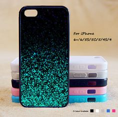 Green Glitter Phone Case For iPhone 6 Plus For iPhone 6 For iPhone 5/5S For iPhone 4/4S For iPhone 5C-5 Colors Available