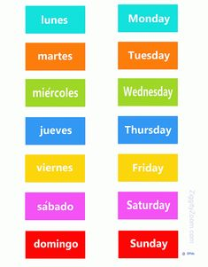 English-Spanish Days of the week ... for Kids .. print make a game or magnets - follow my profile for more and visit my website