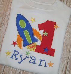Rocket Birthday Applique Shirt by momof5hs63 on Etsy, $26.00