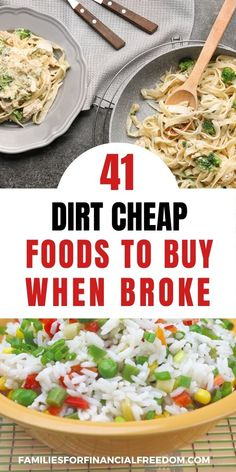 Find 40+ great cheap food ideas! Check out these ideas for a cheap groceries list! Perfect cheap food ideas to slash your groceries budget! These are great cheap food ideas to make cheap meals! Get frugal food ideas for cheap dinners! Best cheap foods to make cheap, easy meals! Get a cheap food ideas shopping lists. #cheapfood #cheapmeals #cheapmealsonabudget #cheapmealsprep #cheapdinners #savemoney #savemoneyongroceries #savemoneyonfood #budgeting #savingmoney Cheap Meals For 5, Cheap Food, Inexpensive Meals, Cheap Dinners, Easy Family Meals, Frugal Meals, Budget Meals, Meal Ideas, Food Ideas