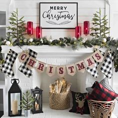 Are you looking for ideas for farmhouse christmas decor? Check this out for amazing farmhouse christmas decor inspiration. This cool farmhouse christmas decor ideas looks totally brilliant. Decoration Christmas, Farmhouse Christmas Decor, Christmas Mantels, Plaid Christmas, Xmas Decorations, Christmas Wreaths, Christmas Crafts, Christmas Fireplace Decorations, Christmas Movies