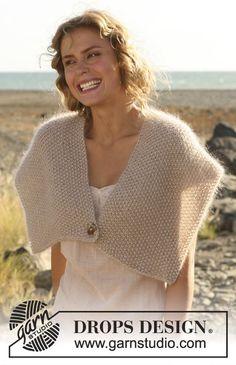 Ponchos & Shawls - Free knitting patterns and crochet patterns by DROPS Design Knit Vest Pattern, Crochet Blanket Patterns, Knitting Patterns Free, Free Knitting, Free Pattern, Knit Shrug, Knitted Poncho, Pull Crochet, Knit Crochet