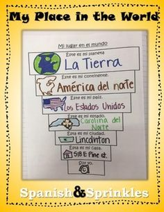 """""""Mi lugar en el mundo""""I use this, combined with the """"Continents and Oceans of the world"""" (also in my TpT store), to teach simple place names and proper nouns of place in Spanish.This is a great first week of Spanish 1 activity with a lot of cognates and vocabulary students are familiar with in English."""