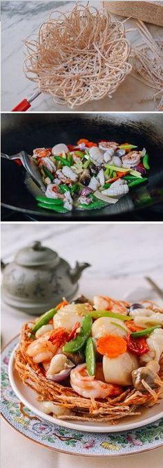 Chinese Seafood Bird Nest recipe by the Woks of Life #Chinese #seafood #bird #nest #Newyear #banquet