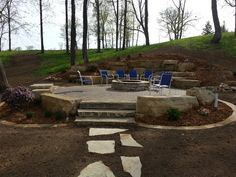 Lovely Outcropping Patio Foundation Stone Firepit