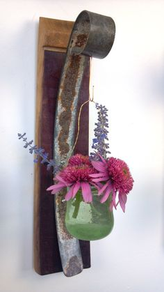 Wall Hanging Candle / Flower Holders  - 100% recycled Wine Barrels.