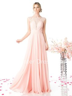 A-Line Bateau Cap-Sleeve Chiffon Illusion Dress With Lace And Pleats