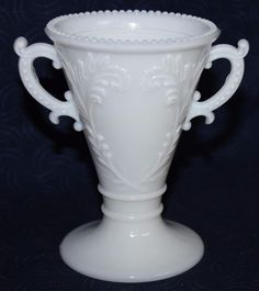 Nice piece of milk glass with a raised design of leafy branches. The rim is beaded as are the handles with still just a bit of old gold on them. Urn Vase, Milk Glass, Tray, Handle, Mugs, Antiques, Tableware, Vintage, Antiquities