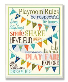 White Playroom Rules Plaque
