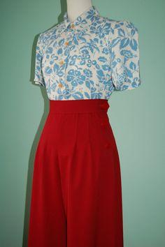 1930's 1940's vintage style red gabardine slacks  CUSTOM for your size